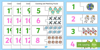 Space-Themed Counting and Matching Puzzle - count, match, planets