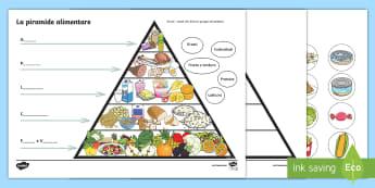 La piramide del cibo Attività - cibo, alimenti, piramide, alimentare, esercizio, nomenclatura, vocaboli, ritaglia, incolla, italiano