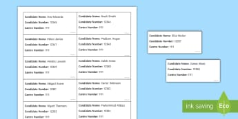 Exam Seating Editable Label Generator English - Exam, Invigilation, Invigilators, Seating plan, labels