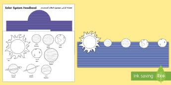 Solar System Role Play Headbands Arabic/English - space, solar system, outer space, galaxy, headbands, role play headbands, solar system order, planet