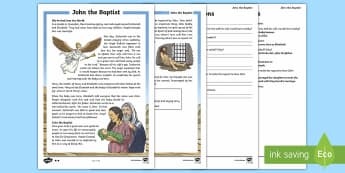 John the Baptist Differentiated Reading Comprehension Activity - KS2, comprehension, reading, reading comprehension, reading activity, John the Baptist, Christianity