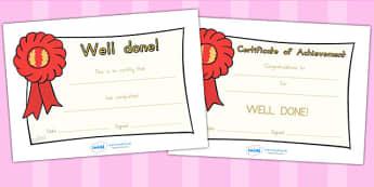 General Certificates - certificates, award, rewards, behaviour