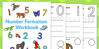 Number Formation Workbook Jungle - number, formation, jungle, overwriting