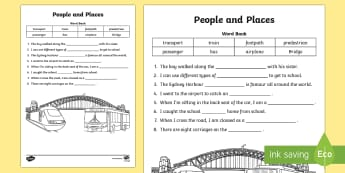 People and Places - Cloze Passage Activity Sheet - People and Places, Geography, English, Cloze Passage, transport, worksheet, Australia