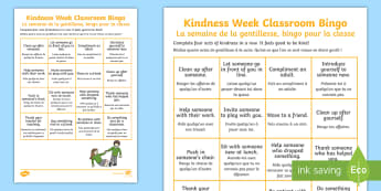 Kindness Week Classroom Bingo Activity English/French - Twinkl Kindness Week, kind resources, EAL French,French-translation