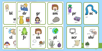 Blends and Clusters Flashcards - Blends and Clusters Posters - blends and clusters, clusters, blends, display, poster, flashcards, le