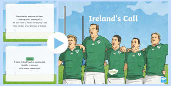 Ireland's Call Song PowerPoint - ROI 6 Nations Feb/March 2017, Ireland's Call, Rugby, Song, Ireland, Anthem,Irish