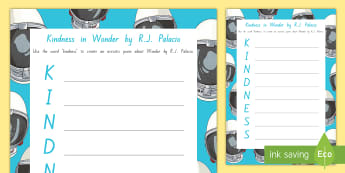 Year 5 and 6 Week 2 Chapter Chat Kindness Acrostic Poem Writing Template to Support Teaching On Wonder by R.J. Palacio - reading, literacy, chapter chat, year 5, year 6, wonder, RJ Palacio