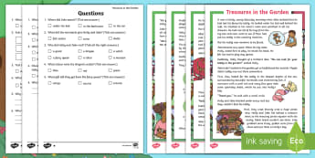 KS1 Treasures in the Garden Differentiated Reading Comprehension Activity - find, information, ask, answer, question