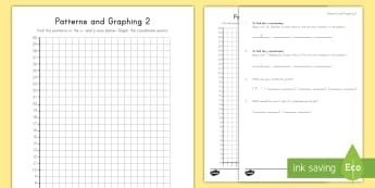 Patterns and Graphing (2) Activity Sheet - patterns, graphing, coordinate plane, coordinate pairs, x axis, y axis