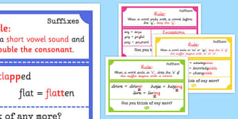Suffix Display Posters - suffi, display posters, suffix, display, poster, sign, banner, ending, end, rules, short vowel, consonant, suffixes