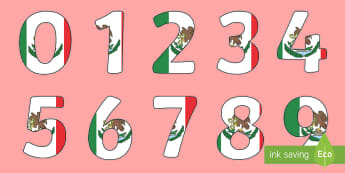 Mexican Flag Display Numbers - Mexico, Mexican Flag, Bulletin Board, Social Studies, North America