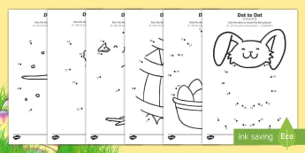 Easter Dot to Dot Activity Sheets English/Mandarin Chinese - EYFS, Early Years, KS1, Easter, Easter Bunny, chicks, Easter eggs, number recognition, numbers to 10