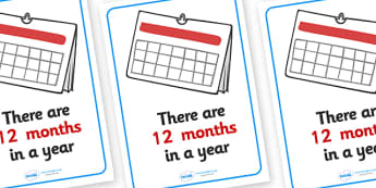 Visual Prompt Display Poster (Months In A Year) - months, year, visual prompt, aid, learning, time, 12 months, how manymonths in a year