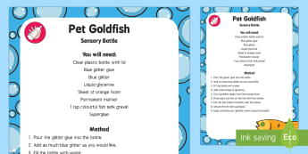 My Pet Goldfish Sensory Bottle - EYFS Pets, Animals, National Pet Month, fish, glitter glue, glitter pen,