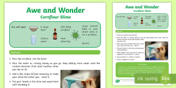 Cornflour Slime Awe and Wonder Science Activity Sheet - Awe and Wonder Science Activities, oobleck, slime, cornflour, non-newtonian fluids, non-newtonian li
