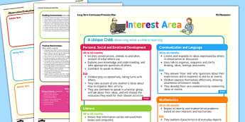 Interest Area Continuous Provision Plan Posters Reception FS2