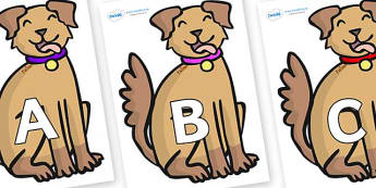 A-Z Alphabet on Dogs - A-Z, A4, display, Alphabet frieze, Display letters, Letter posters, A-Z letters, Alphabet flashcards