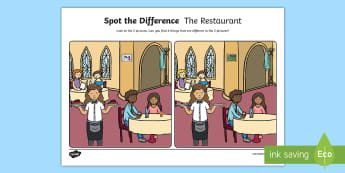 The Restaurant Spot the Difference Activity Sheet - oral language, speech and language, worksheet, spot the Differences, restaurant, talking, pair work,