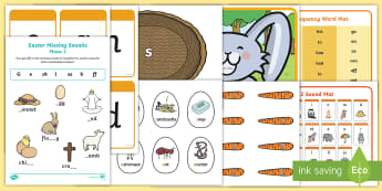 Easter Themed Phase 2 Phonics Resource Pack - Easter, phase 2, phonics, egg, bunny, basket, phoneme, initial sound