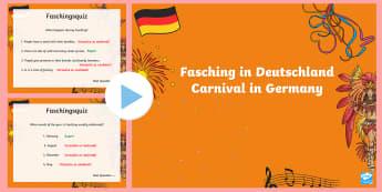 Carnival in Germany Quiz PowerPoint - Carnival, Germany, German, Fasching, Fastnacht, Karneval, MFL,