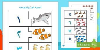 أُحجية العد والمطابقة في أعماق البحار  - أعماق البحار، عد، حساب، مهارات، مطابقة، أحجية,Arabic