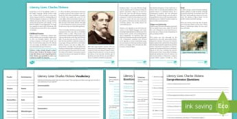 Literary Lives: Charles Dickens Differentiated Reading Comprehension Activity - Comprehensions KS3/4 English Charles Dickens, Oliver Twist, Great Expectations, A Christmas Carol, T