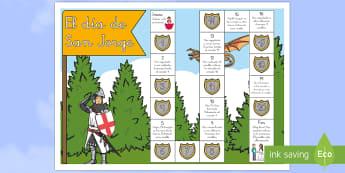 Juego de mesa: Salva a la princesa - San Jorge, sant jordi, leyenda, leyendas, cuentos, cuentos tradicionales, Saint george spanish, jorg