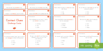 Context Clues Task Cards - Context Clues, ELA, Reading, Kindergarten, Common Core