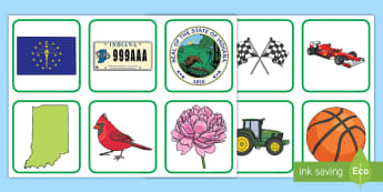 Indiana State Symbols Pairs Matching Game - Memory Game, Center Activity, Social Studies, Small Group, State History