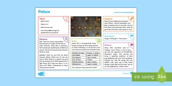 Tudors: Palace KS2 Exploration Sheet - england, tudor, henry, castle, royalty, king, discussion, factfile