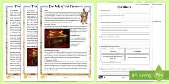 The Ark of the Covenant Differentiated Reading Comprehension Activity - Retrieve and record information from non-fiction, Draw inferences such as inferring characters' fe
