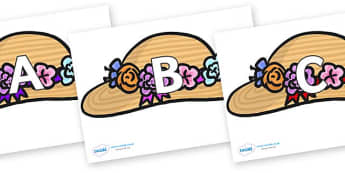 A-Z Alphabet on Bonnets - A-Z, A4, display, Alphabet frieze, Display letters, Letter posters, A-Z letters, Alphabet flashcards