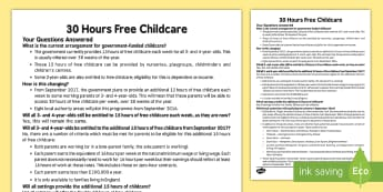 EYFS 30 Hours Free Childcare Parents and Practitioners  Information Leaflet