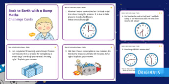 KS1 Back to Earth with a Bump Time Differentiated Maths Challenge Cards - Back to Earth with a Bump, space, planets, night and day, dark, sun, Mars, moon, stories, picture bo