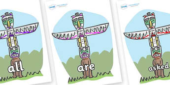 Tricky Words on Totem Poles - Tricky words, DfES Letters and Sounds, Letters and sounds, display, words