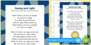 Seeing and Light Song - Light and Dark, eyes, light source, singing, song time, songs, rhyme, rhythm, twinkle twinkle little