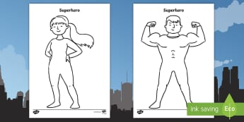 Superhero Template Activity Sheet - cut out, superheroes, display, comic, puppet, worksheet