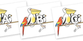 A-Z Alphabet on Pets on a Perch to Support Teaching on The Great Pet Sale - A-Z, A4, display, Alphabet frieze, Display letters, Letter posters, A-Z letters, Alphabet flashcards
