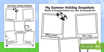 Summer Holiday Snapshots Writing Frames English/German - meerkat mail,  transition, writing aid, back to school, new class, summertime, EAL, German,German-tr