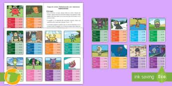 Juego de cartas temático: Multiplicación con monstruos - mates, matemáticas, multiplicar, tablas de multiplicar, multiplicación, por, juego, cartas, monstr