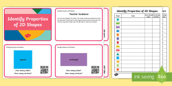 Year 2 Properties of 2D shapes Code Hunter - QR Codes, 2 dimensional, 2D, shape, properties, sides, vertices, scan