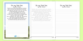 On My First Son Ben Jonson Poem Handwriting Practice - poem, handwriting, practice, writing, on my first son, ben jonson