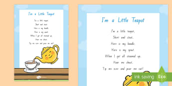 I'm A Little Teapot Display Poster - NZ Literacy Resources, nursery rhymes, Years 1-3, New Zealand, Aotearoa, poems, English