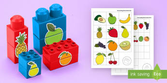 Fruit Matching Connecting Bricks Game - EYFS, Early Years, KS1, Connecting Bricks Resources, duplo, lego, plastic bricks, building bricks, f