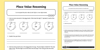 Place Value Two-Digit Reasoning Activity Sheet -  problem solving, maths mastery, year 3, fun maths, tens, ones, number value, word problems