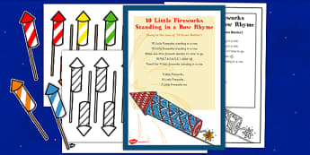 10 Little Fireworks Standing in a Row Rhyme Sheet and Pack - 10 little fireworks, standing, row, rhyme