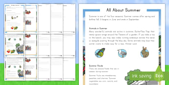 All about Summer Differentiated Reading Comprehension Activity - summer, summer season, first day of summer, summertime, reading comprehension, summer holidays, four