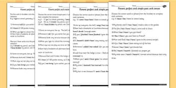 Using the Present Perfect Form of Verbs Contrast to Past Tense Worksheet