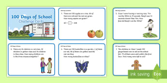 KS1 100 Days of School Addition and Subtraction Maths Challenge Cards - bonds to 100, word problems, hundred, solve, reasoning, questions, adding, subtracting
